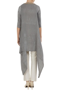 Asymmetric embroidered placket tunic