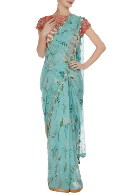 Yashodhara 3D floral sequin embroidered sari with blouse