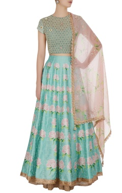 Yashodhara Pearl & gota embroidered lehenga set