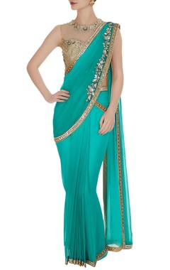 Rajat & Shraddha Sequin & pearl pre-draped sari with embroidered blouse