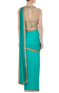 Sequin & pearl pre-draped sari with embroidered blouse