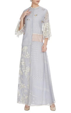 Sahil Kochhar Cashmere blue floral embroidered chanderi shirt dress