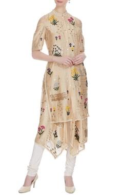 Sahil Kochhar Sand beige floral embroidered kurta