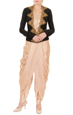 Anand Kabra Nude waistcoat with dhoti pants & zardozi embroidered jacket