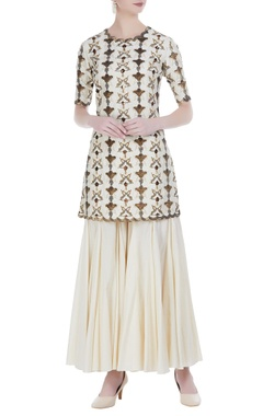 Embroidered kurta with paneled sharara pants