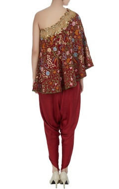 Off-shoulder floral embroidered cape with draped pants