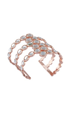 Gold handcrafted mirror & rose gold plated brass statement bracelet