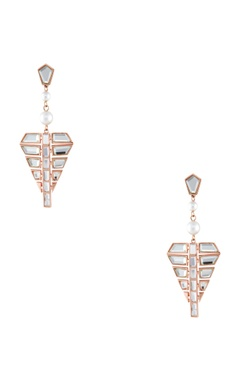 Gold handcrafted mirror & rose gold plated brass dangler earrings