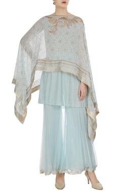 Kiran Uttam Ghosh Asymmetric embellished cape and inner