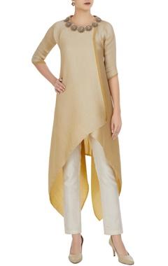 Kiran Uttam Ghosh Asymmetric wrap pleated texture tunic