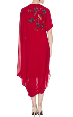 Red georgette floral embroidered drape dress
