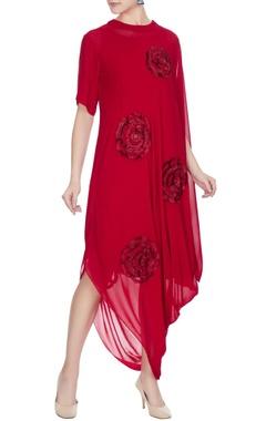 Urvashi Joneja Red georgette cowl draped style dress