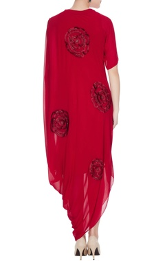 Red georgette cowl draped style dress