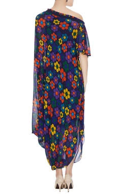Multicolored georgette floral printed draped dress