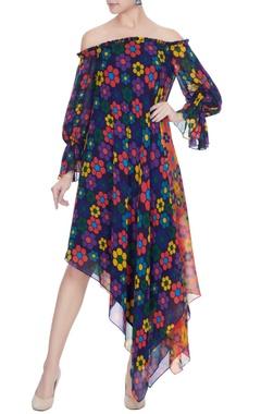 Urvashi Joneja Multicolored georgette floral printed off-shoulder dress
