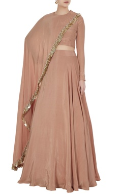 Champagne-beige crepe silk cape blouse with lehenga
