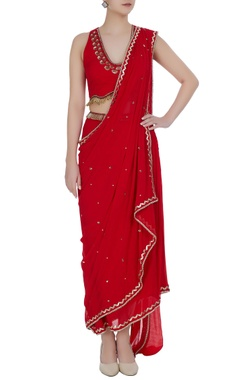 Sequin embroidered pre-draped sari with halter blouse