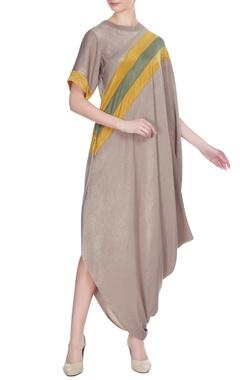 Urvashi Joneja Beige satin draped dress with yellow stripe detail
