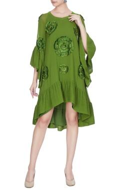 Urvashi Joneja Lime green georgette embroidered frilly detail summer dress