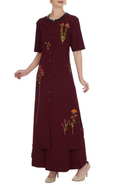 Sequin floral embroidered kurta with flared pants