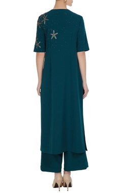 Star motif sequin embroidered kurta with pants