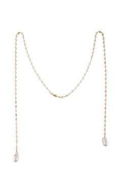 Gold plated zirconia & baroque pearl handcrafted necklace