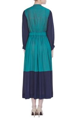 Green & navy blue munga silk pleated dress