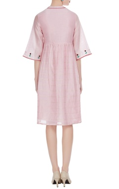 Cotton silk 3D buta floral midi dress