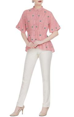 Rimzim Dadu 3D floral embroidered button down shirt