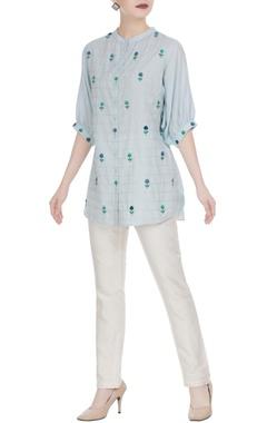 Rimzim Dadu Button down shirt in 3D floral buta embroidery