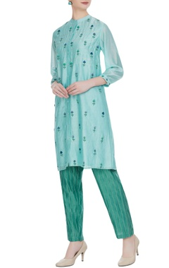 Rimzim Dadu Floral embroidered tunic with stripe pants