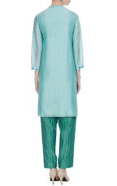 Floral embroidered tunic with stripe pants