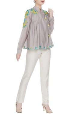 Rimzim Dadu Floral embroidered angrakha blouse