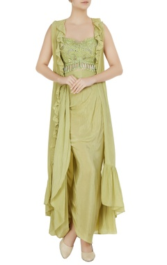 Arpita Mehta Mint green embroidered bustier with dhoti skirt & ruffle jacket