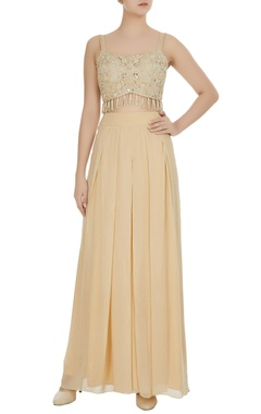 Arpita Mehta Ivory pearl & embroidered tassel bustier with palazzo pants