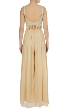 Ivory pearl & embroidered tassel bustier with palazzo pants