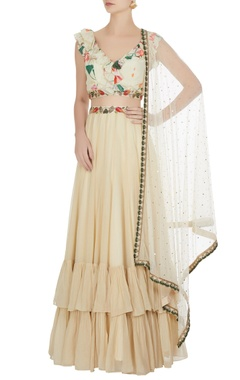 Cream bead embroidered floral lehenga set