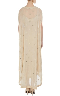 Ivory wrap style spaghetti strap dress with front open cape