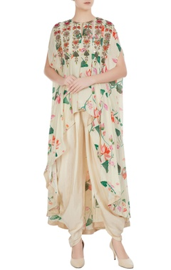 Arpita Mehta Cream floral bead embroidered & mirror work cape with dhoti pants