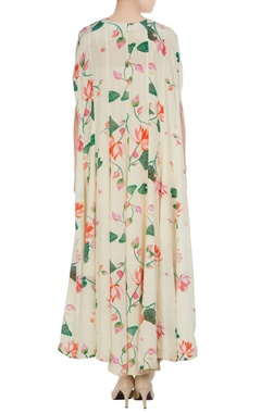 Cream floral bead embroidered & mirror work cape with dhoti pants