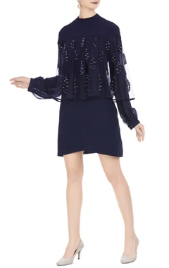 Urvashi Joneja Black georgette cape style tunic dress