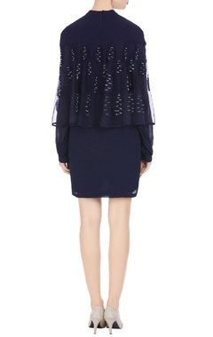 Black georgette cape style tunic dress