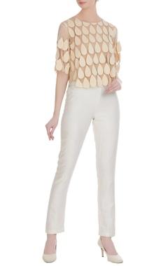 Urvashi Joneja Beige net teardrop pattern sheer blouse