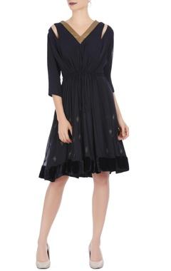 Urvashi Joneja Black georgette embroidered dress