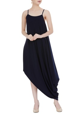 Urvashi Joneja Navy blue spaghetti strap draped crepe silk dress