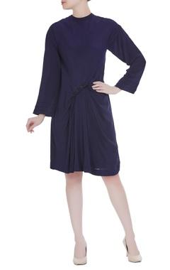 Urvashi Joneja Navy blue crepe silk gathered style dress
