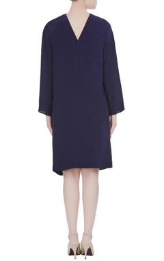 Navy blue crepe silk gathered style dress