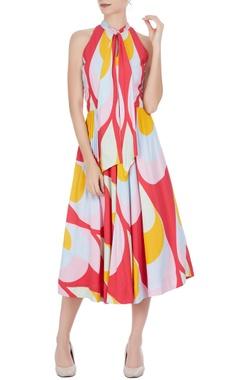 Urvashi Joneja Multicolored midi sundress with tie-up detail