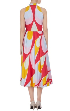 Multicolored midi sundress with tie-up detail