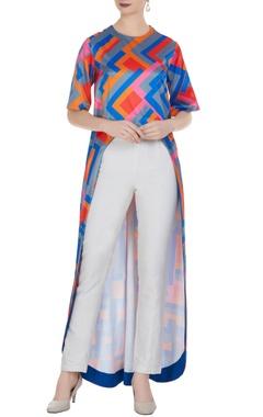 Urvashi Joneja Blue high-low tunic in multi colour print design